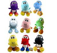 "Wholesale Mario Plush Figure - 10pcs lot free shipping 9 colors 7"" (18cm) Super Mario yoshi Plush Doll Toys With Sucker"