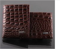 Wholesale genuine money purses for men - Fashion mens leather luxury wallet crocodile grain casual short design card holder money purse clips wallets for men high quality