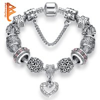 Wholesale Snowflake Bracelets Silver - BELAWANG Fashion Silver Plated Heart Crystal Women Charm Beads Bracelets Snowflake Beads Snake Chain Bracelets Jewelry with Safety Chain