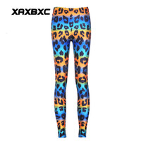 Wholesale Rainbow Pencils - 2017 NEW 3609 Rainbow Stripe leopard Prints Sexy Girl Pencil Yoga Pants GYM Fitness Workout Polyester Women Leggings Plus Size