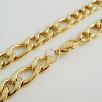 Wholesale Gold Plate Boys Chain - 11.5 7.5mm Heavy 18K Gold Plated Curb Link Rombo Fashion Mens Chain Boys 316L Stainless Steel Necklace