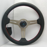 Wholesale Drifting Leather - 14'' 350mm Black Real Leather ND Rally Tuning Drift Racing Steering Wheel