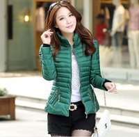 Wholesale Korea Winter Woman Jacket - Wholesale-Korea Winter 2016 Latest Fashion Big yards Women' Coat Keep Warm Long Sleeve Pure color High-end Short Cotton Down Jacket