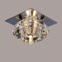 spot ışık odası toptan satış-Modern LED Kristal Tavan Işık Balkon Tavan Lambaları Salon Tavan Işık 3W LED Spotlight arka plan lambası led
