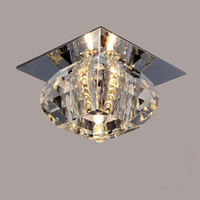 iluminação moderna varanda venda por atacado-Modern teto LED Crystal Light Varanda candeeiros de tecto Sala Luz de teto 3W Refletor LED lâmpada LED fundo