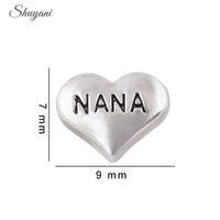 Wholesale Mini Glass Lockets - Mini Heart Charms Silver Plated Heart Letter NANA Floating Locket Charms for Living Memory Glass Locket Necklace