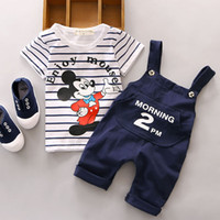 Wholesale Short Overalls For Baby Girls - Minnie Mouse Sets For Baby Boys Girls Clothes Summer Mickey Kids Striped T Shirts+Overalls Suspender Trousers 2PCS Suits Clothing Tracksuit