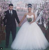 robe de mariée en porcelaine achat en gros de-2016 Pas Cher Robe De Bal Sweetheart Tulle Blanc Princesse Robes De Mariée Bling Sexy De Mariage Robes De Demoiselle D'honneur 2016