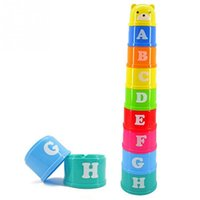 Wholesale New Baby Block - 2016 kids toy Excellent Baby Children Kids Educational Toy New building block Figures Letters Folding Cup Pagoda Gift 9Pcs set