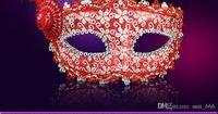 Wholesale White Face Paint Makeup - Halloween masks wholesale prom makeup laceHalloween Venetian masquerade feather masks painted luminous beauty mask party mask party princess