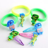 Wholesale Hairbows Character - Free DHL Cartoon Inside Out Movie Hairbows hair ring Kids Girl Children's hair rope hairband children's hair bands