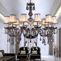 Wholesale Used Chandelier Crystals - Wholesale-Smoky Gray Crystal Chandeliers   Pendant Lamps With 6,8,10,12pcs Lampshade Use E14 LED Candle Bulbs AC110V 220V 240V Chandelier