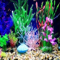 Wholesale Plastic Coral Fish - Fish Tank Faux Artificial Aquarium Reef Coral Decor Ornaments Plastic Simulation Accessories