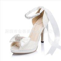 Wholesale Korean Wedding Shoes Bride - 2017 Bowknot Crystal Wedding Shoes Bride Bridesmaid Korean Sweet Lace Silk High-heeled Shoes Stilettos Platform Sandals Women Summer Pumps
