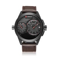 Wholesale Curren Leather - Brand Curren men's sports watch men's casual fashion watch the men's dual timezone Quartz Watches large dial Leather watchband Watches