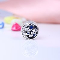 Wholesale Vintage Enamel Charms - Authentic 925 Silver Beads Vintage Night Sky Charm, Shimmering Midnight Blue Enamel & Clear CZ Fits European Style Jewelry Bracelets