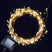 Wholesale solar powered flashing led lights - Solar Powered String Light 33ft 100 LEDs Starry String Light Copper Wire String Light Ambiance Lighting for Gardens, Home, Christmas Party