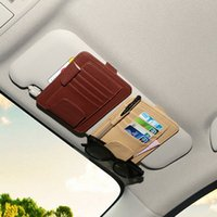 CHIZIYO 2017 Carro Multifuncional PU Card Holder Carro Sun Visor Óculos Óculos de sol Ticket Receipt Card Clip Storage Holder