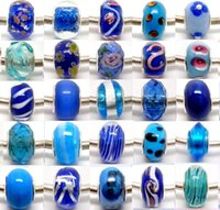 Wholesale Sivler Charms - 100pcs Lot Blue Sivler core Murano Glass Beads for Jewelry Making Loose Lampwork Charms DIY Beads for European Bracelet Wholesale in Bulk