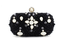 Vintage Fashion Women Beaded Evening Clutch Bag Casamento Bridal Pearl Handbag Purse Carteira Metal Hard Box Shoulder Chain Bags Atacado