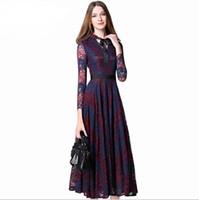 avrupa iş elbisesi toptan satış-2017 Maxi Elbiseler Kadınlar Yeni Avrupa Hollow Out Dikiş Dantel Vestidos Femme Çalışması Rahat Ince Seksi Parti Elbise Artı Boyutu