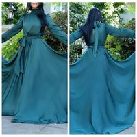 Wholesale Long Sleeve Muslim Dresses Online - 2016 Chiffon Long Sleeves Muslim Evening Dresses Abaya Dubai Formal Women Maxi Prom Party Gowns Custom Online
