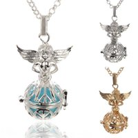 Wholesale Peace Wings Pendant - Mexican Bola Pendant Necklace Angel Callers Sound Chime Necklace harmony ball bell Peace tree angel wings Lockets silver gold white k Color