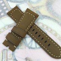 deri saat kayışı 24mm kahverengi toptan satış-24mm 120/75mm Moda Kahverengi Nubuk Buzağı Deri Kayış Panerai veya diğer LUNMINOR RADIOMIR izle