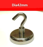 Wholesale Strong Neodymium - 2016 New 68KGs Pulling Mounting Magnet 2PCS Dia42x8.8mm Magnetic Pots With Hook Attached Strong Magnet Pot Neodymium
