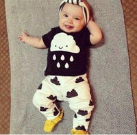 Wholesale Clouds Shirt - 2017 Summer baby clothing lovely cloud rains outfits Toddler clothes cotton short sleeve black white T shirts pants 2pcs sets wholesale