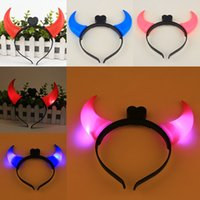 Wholesale Light Up Horn Headbands - 2016 Hot 10pcs Halloween Light-Up Horn Headband Blinking LED Hair Band Flashing Party Prop Halloween Fancy Costume Party Hairband