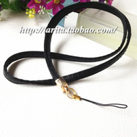 Wholesale Leather Strap Lanyard - pure color golden end leather neck strap keychain badge holder lanyard for mobile phone car keys ID cards