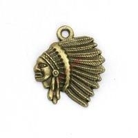 indischen goldschmuck armband großhandel-20 stücke Antike Bronze Überzogene Indianer Charme Anhänger für Armband Schmuck Machen DIY Halskette Handwerk 21x18mm