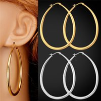 U7 Big Size Brincos Trendy Never Fade 316L de aço inoxidável Jóias Moda Jóias Presente 18K Real Gold Plated Oval Hoop Earrings
