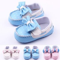 Wholesale Dot Blue Baby Girl Dress - Wholesale New Fashion Baby Girl Shoes Butterfly Bowknot Polk Dot Leather Upper Moccasins for Dress Shoes Soft Sole Blue Pink White
