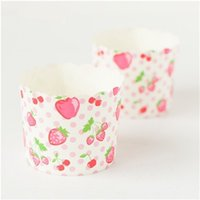 Wholesale Strawberry Cupcake Liners - Free Shipping pink dots strawberry decoration cake cupcake cups cases holder, big paper muffin decoration cup wedding liners