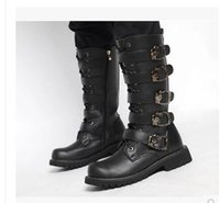 Wholesale Martin Style Combat Boots - 44 45 size 2016 Winter men Tall canister boots Army Combat boots boy boot snow shoe Men Black shoe knee botts Style: outdoor recreation