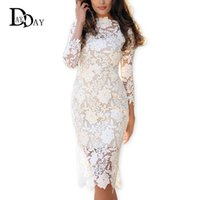 Wholesale Long Sleeveless Sheaths - 2016 Summer Women White Lace Dresses Bodycon Floral Crochet Lace Long sleeve Midi Elegant Sheath Pencil Party Dresses S147163