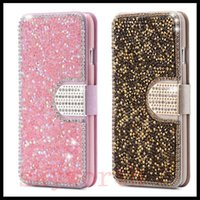 Wholesale Diamond Pattern Iphone Case - Luxury Full Body Bling Diamond Flip Leather Wallet Case Silk Pattern Card Slot Stand Cover For iPhone 5s 6s Plus Samsung S6 S7