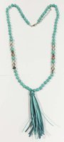 Wholesale Turquoise Colour - Turquoise beaded tassel necklace knoted turquoise and glass beades necklace with suede tassel cream and turq colours beads drop necklace