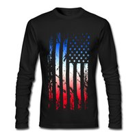 Wholesale American Flag Art - Abstract art print male crew neck t-shirt long-sleeved tees snug pure cotton fabric made clothing for man American Flag