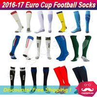 Wholesale Team Socks White - Euro Cup Adult Soccer Sock 2016-17 Top Thai quality National team Football socks Absorb sweat thickened Stockings Cheap Men sports