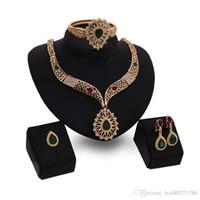 Wholesale Vintage Indian Bead Bracelet - 2016 New Fashion Women Vintage 18K Gold Plated Bridal Rhinestone Nigerian Wedding African Beads Jewelry Set