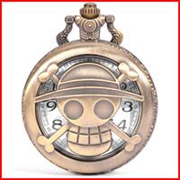 Wholesale One Piece Watch Luffy - Vintage One Piece pocket watch bronze pirate Monkey D Luffy skull pendants men women quartz watches birthday gift 230148