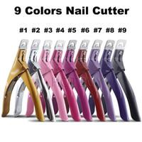 gefälschte nägel farben großhandel-Falscher Nagel-Klipper-gefälschter Nagel-Klipper-Nagel-Schneider-Edelstahl-Acrylgel-Nagel-Kunst-Werkzeug-Spitzen-Maniküre-Trimmen 9 Farben # 4205