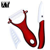 Wholesale Ceramic Cook Set - Best ceramic knife 3 inch paring knife and one white blade + red handle peeler cooking tools kitchen knives 2 pieces set