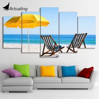 Wholesale Canvas Beach Chairs - HD Printed 5 Piece Canvas Art Beach Chair Painting Beach Wall Pictures Decor Framed Modular Painting Free Shipping CU-2080C