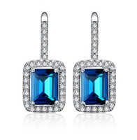 Wholesale Young Women Jewelry - Big Blue CZ Diamond Rhodium Plated Ear Stud Jewelry Women Earrings for Beautiful Girls for Young Lady for Wedding Party ER-263