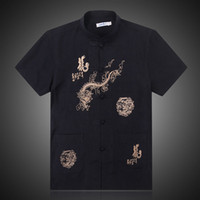 Wholesale Men Hanfu - Wholesale-Free shipping 2016 new arrival Middle-aged man costume Hanfu short sleeved summer father China tradition Chinese wind shirt tops