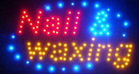 Wholesale Nail Signs - 2016 Hot Sale custom led sign 10X19 Inch indoor Ultra Bright running nail waxing store led sign